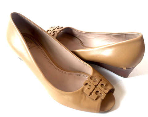 Tory Burch Tan Peep Toe Wedges | Pre Loved |