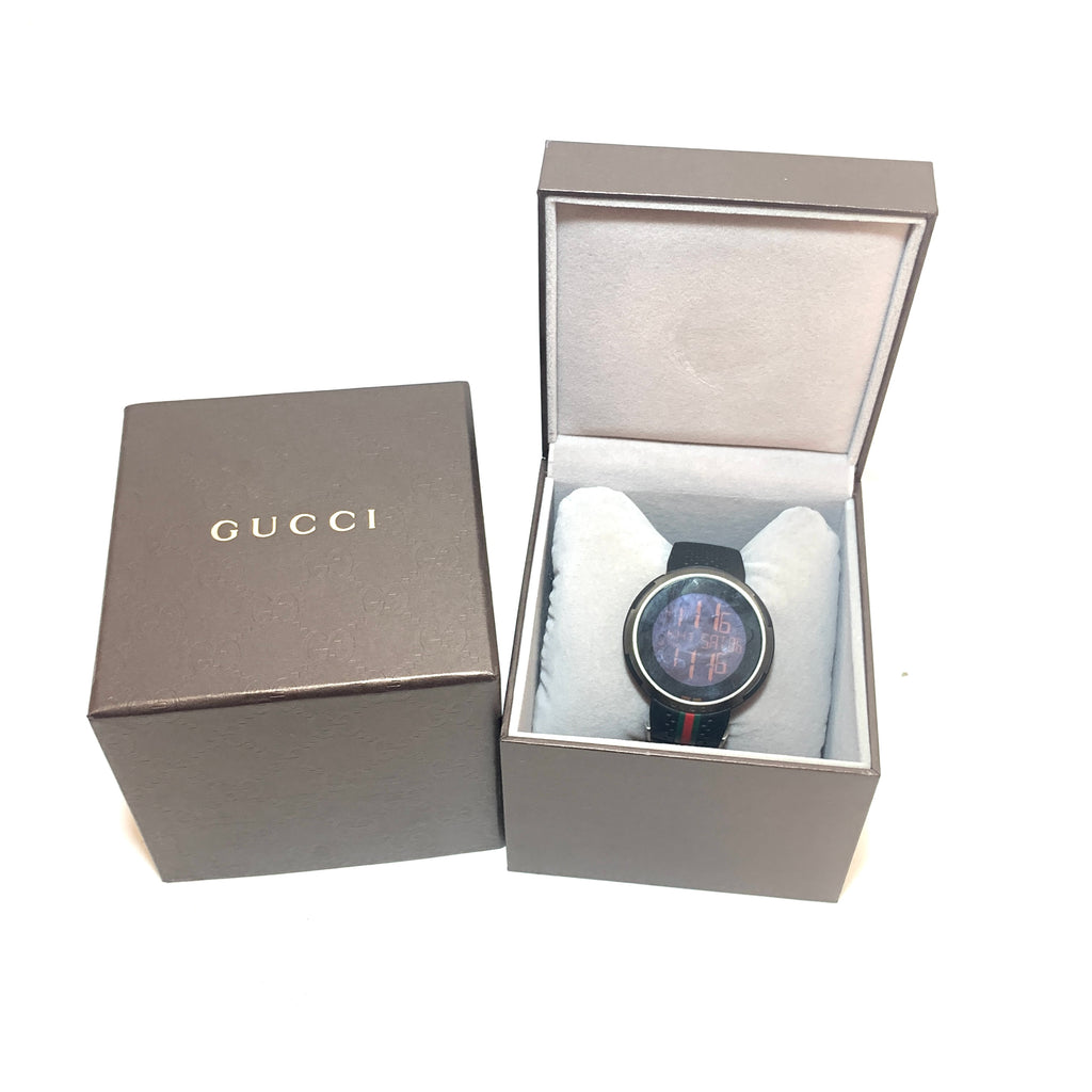 Gucci Sport I-Gucci YA114103 Dial Black Rubber Men's Digital Watch | Like New |