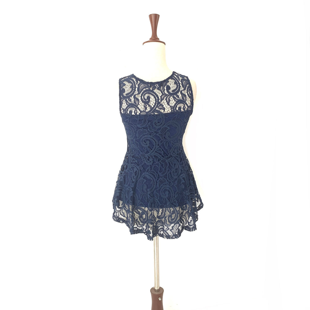 Quiz Blue Sleeveless Lace Top | Gently Used |