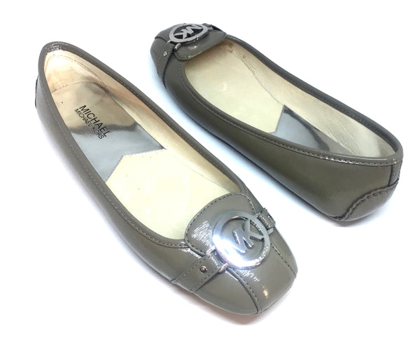 MICHAEL Michael Kors 'Fulton' Grey Patent Leather Ballet Flats | Like New |