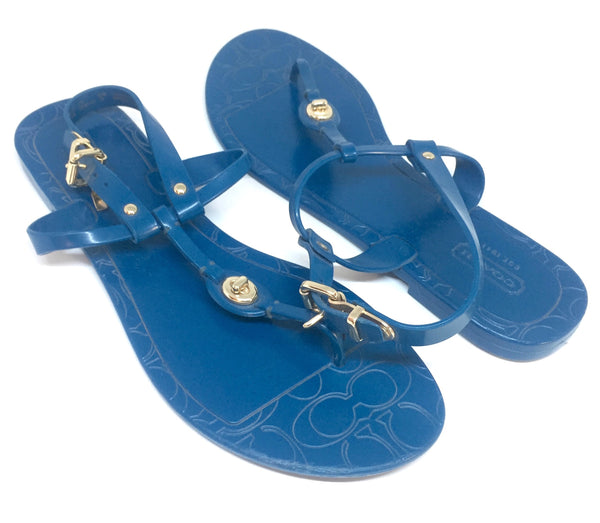 Coach Blue Plastic Thong Sandals | Pre Loved |