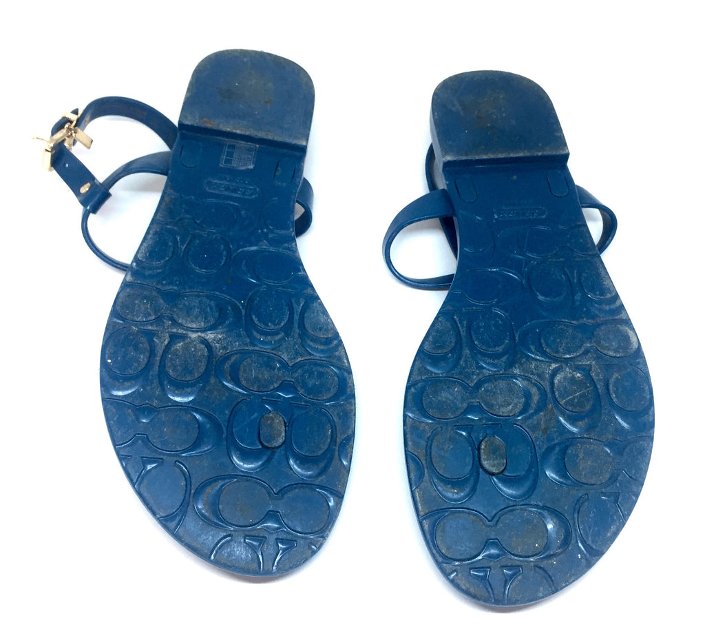 Coach Blue Plastic Thong Sandals | Pre Loved | - Secret Stash