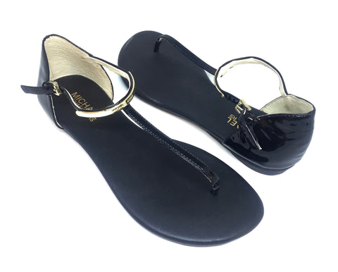Michael Kors Black Leather Thong Sandals | Brand New |