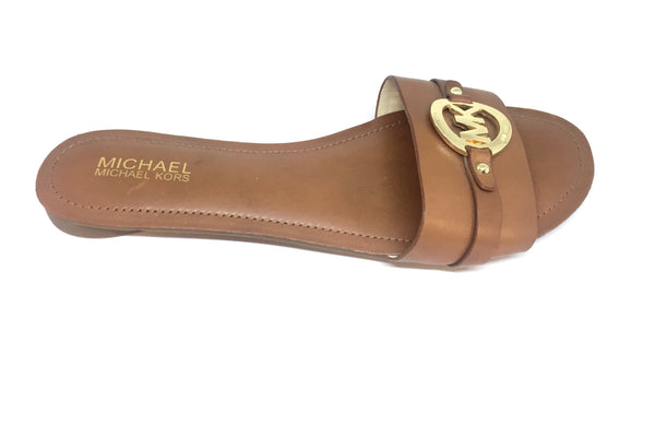 MICHAEL Michael Kors Tan Leather Flat Sandals | Brand New |