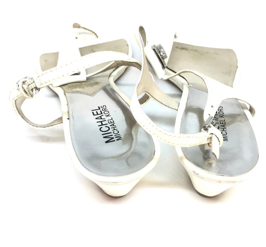 Michael Kors White Thong Wedge Sandals | Pre Loved |