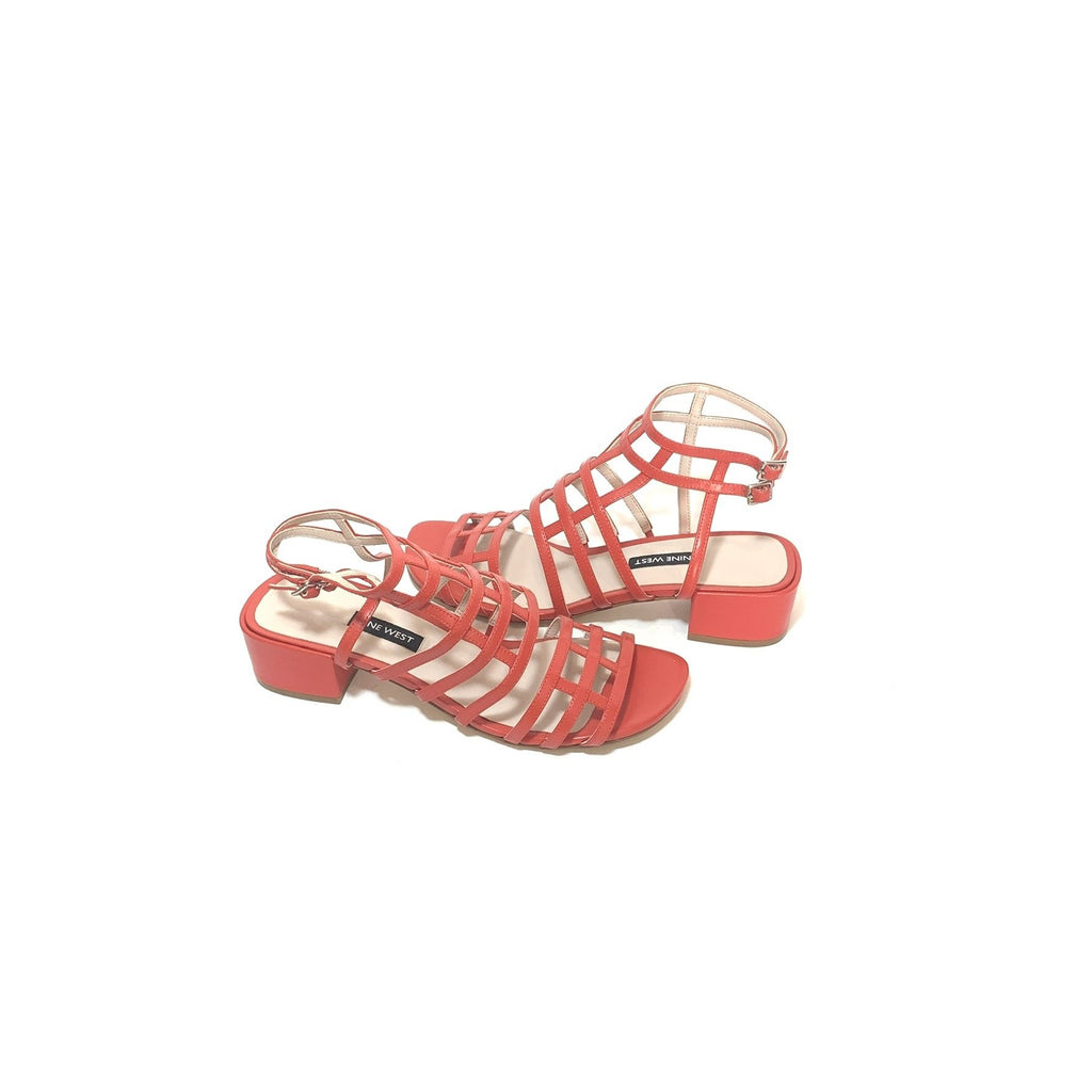 Nine West Red 'Xerxes' Leather Caged Sandals | Like New |