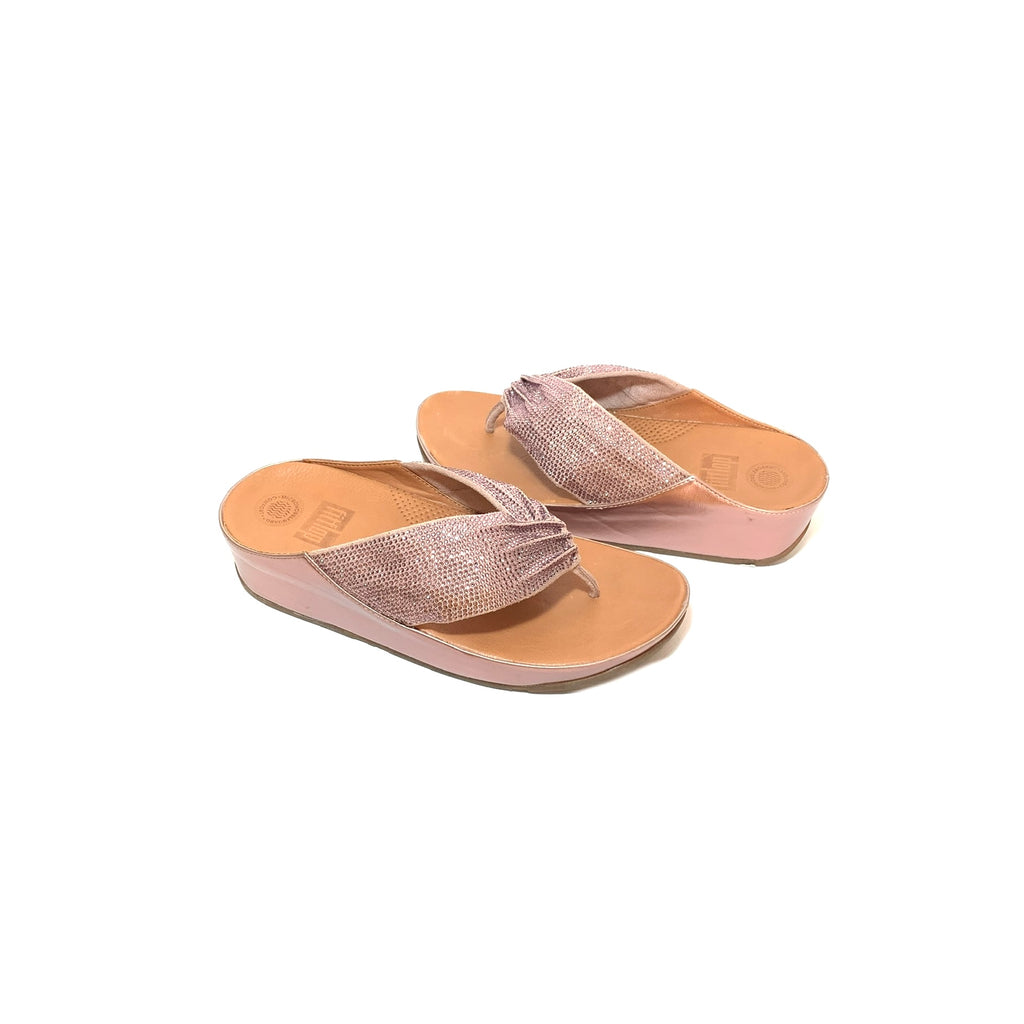 Fitflop Twiss Crystal Oyster Pink Sandals | Gently Used |