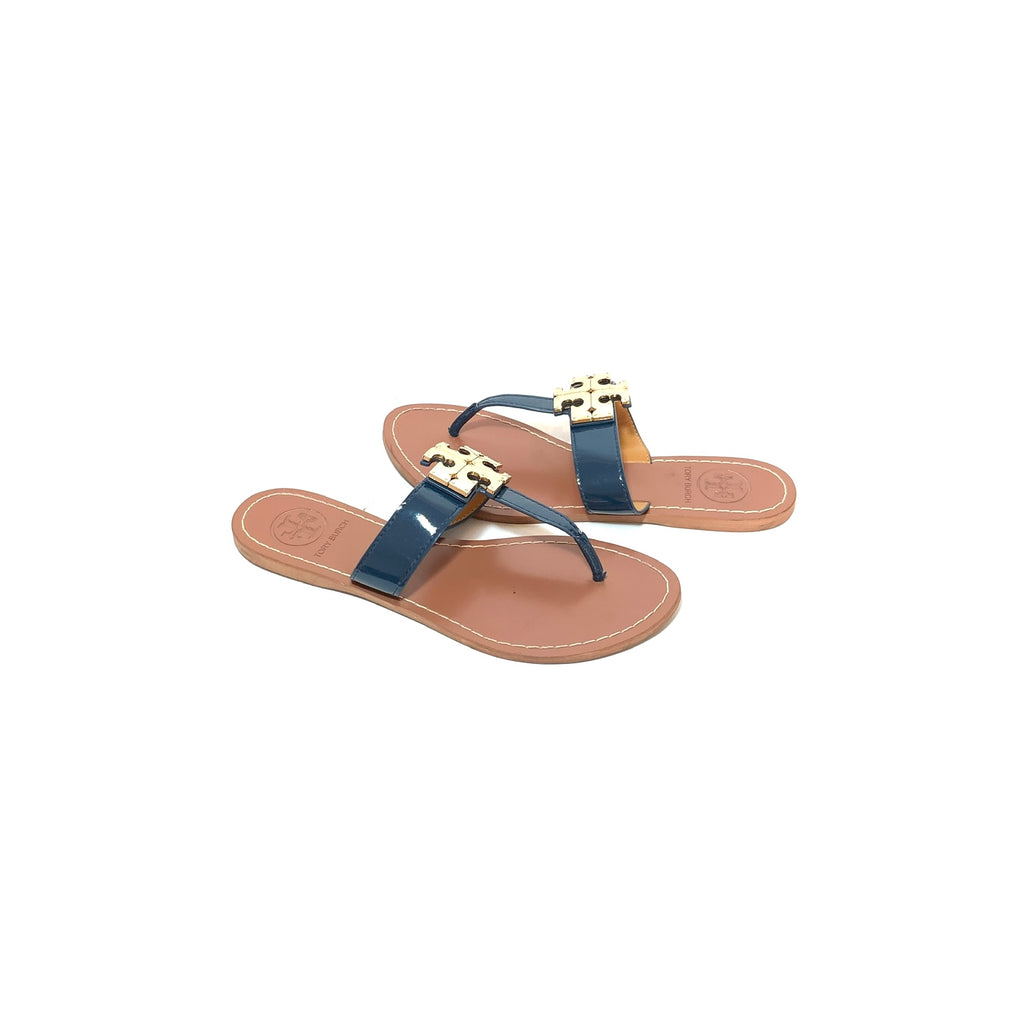 Tory Burch Navy & Gold 'Moore' Thong Sandals | Pre Loved |