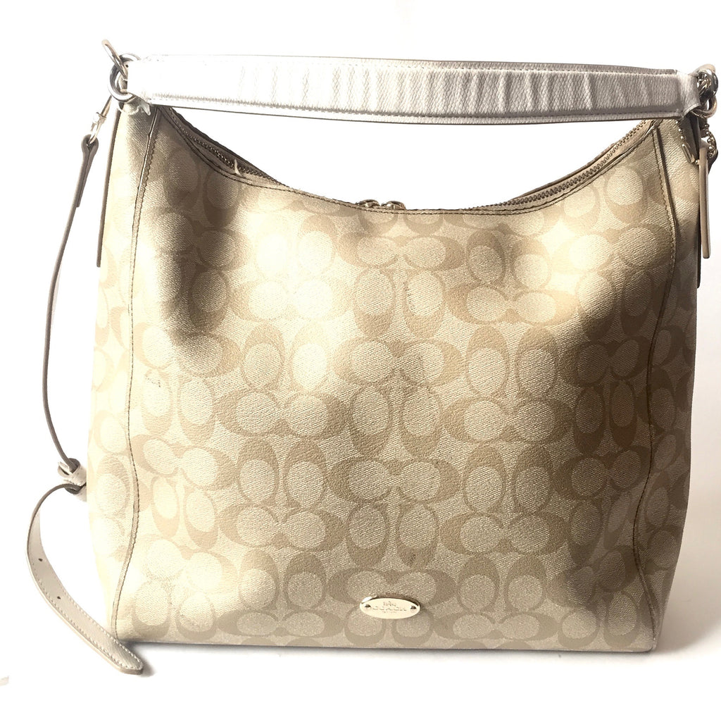 Coach Signature Print Light Beige Coated Canvas Bag | Pre Loved |