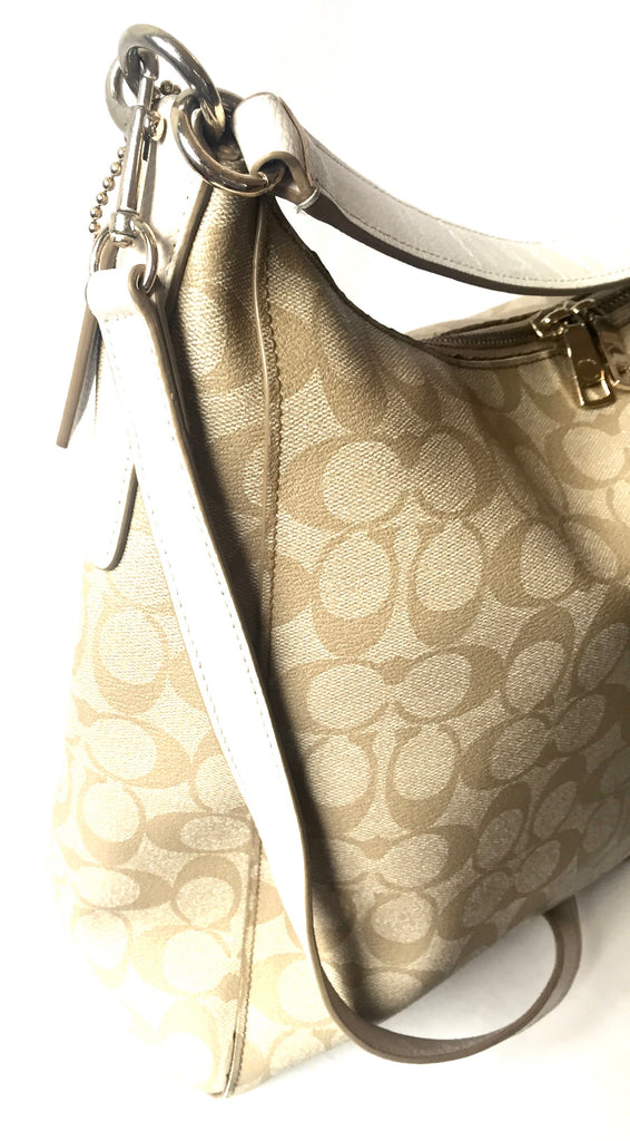 Coach Signature Print Light Beige Coated Canvas Bag | Pre Loved | - Secret Stash