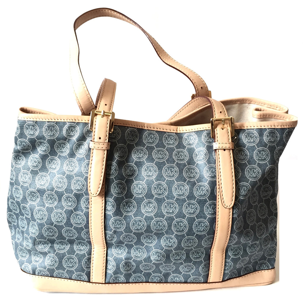 Michael Kors Denim Printed with Leather Trim Bag | Gently Used |