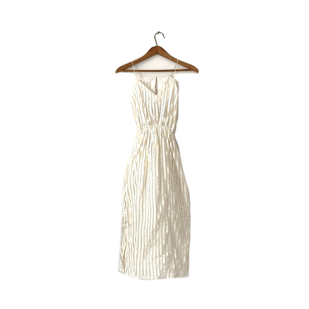 House of Farah V Off-White Net Dress | Like New |