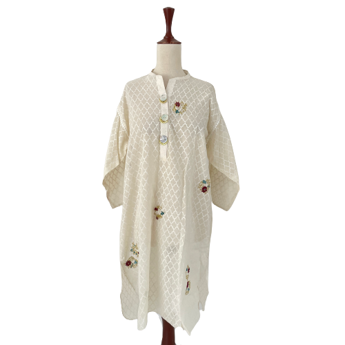 Elan Pret White Block Print & Embroidery Kameez | Gently Used |