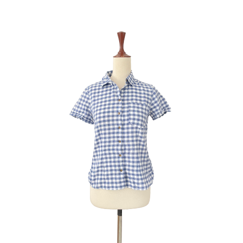 H&M Blue & White Checked Short Sleeves Shirt | Gently Used |