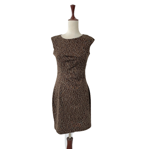 Calvin Klein Brown Printed Sleeveless Dress | Gently Used |