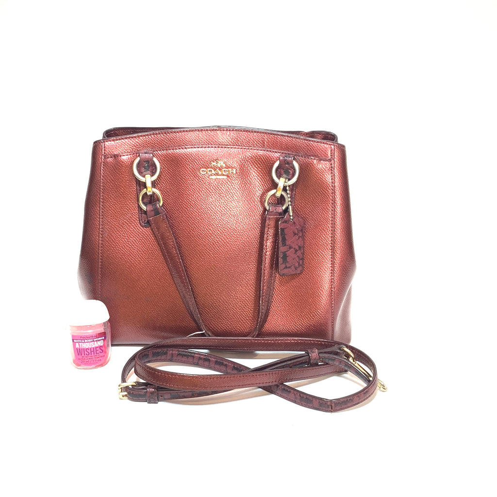 Coach Metallic Maroon Leather Satchel | Pre Loved |
