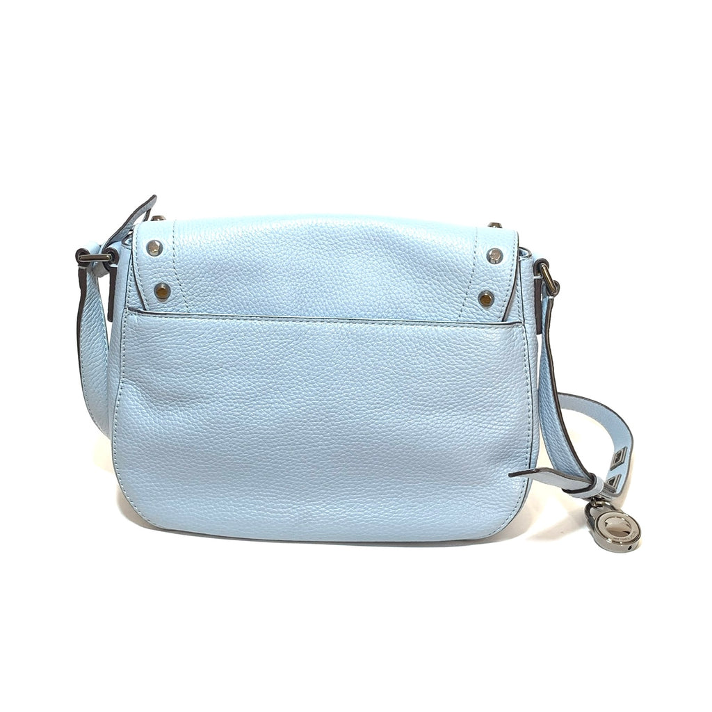 Michael Kors Light Blue Pebbled Leather Saddle Bag | Gently Used |