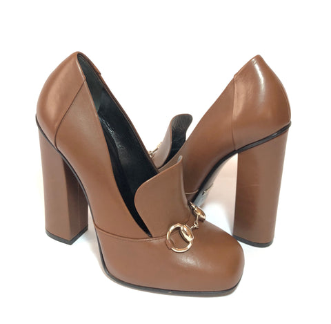 Gucci Brown Leather 'Horsebit' Square-toe Pumps | Gently Used |