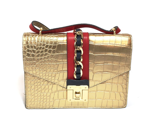 ALDO Gold Croc Print Crossbody | Like New |