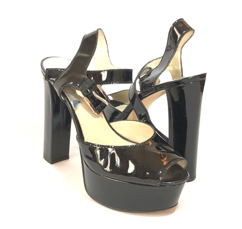 Michael Kors Black Patent Leather Peep-toe Platform Block Heels | Gently Used |