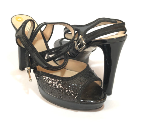 Charles & Keith Multi Strap Sequined Block Heels | Gently Used |