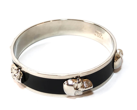 Alexander McQueen Black 3D Enamel Skull Bangle | Brand New |