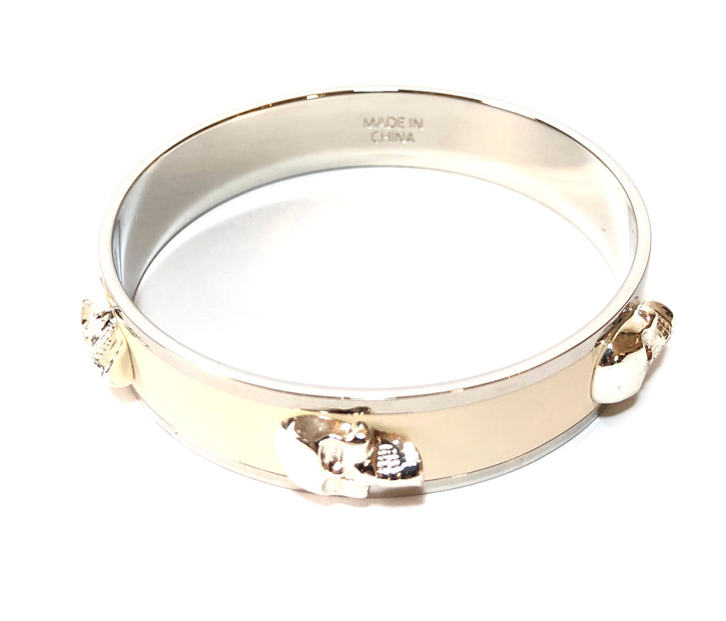 Alexander McQueen White 3D Enamel Skull Bangle | Brand New | - Secret Stash