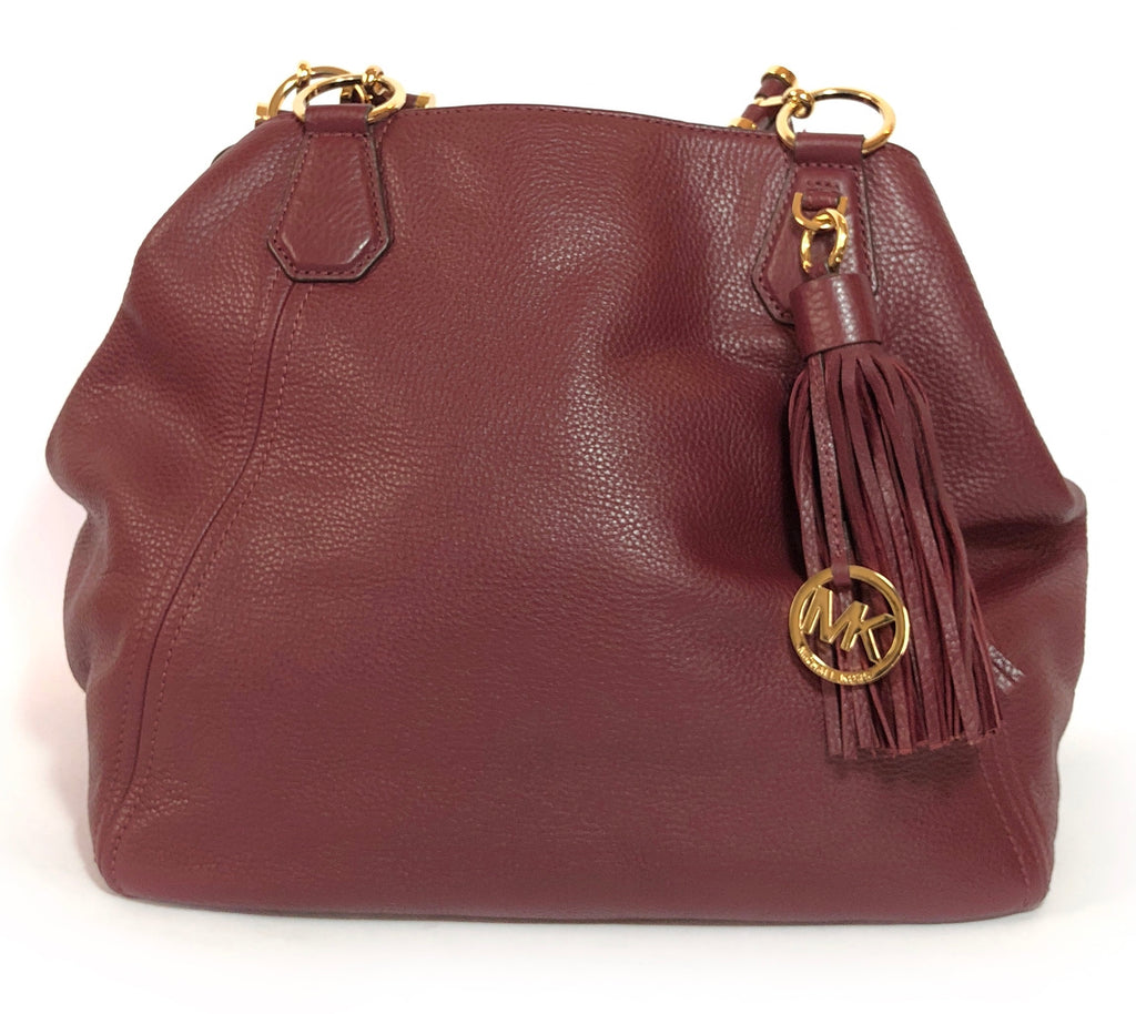 Michael Kors Maroon Pebbled Leather Shoulder Bag   Gently Used   d14d35cec4