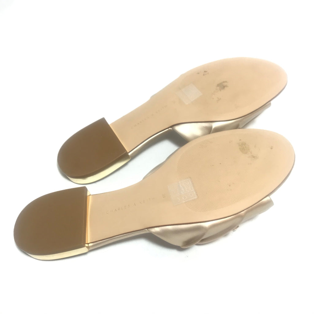 Charles & Keith Gold Satin Rhinestone Flats | Like New |
