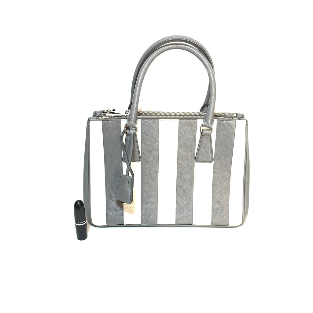 Prada Marble Grey Saffiano Leather Striped Small Satchel | Gently Used |