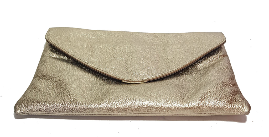 J.Crew Gold Pebbled Leather Clutch | Like New |