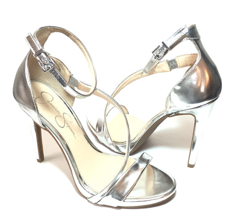 Jessica Simpson Silver Strappy D'ORSAY Heels | Like New |