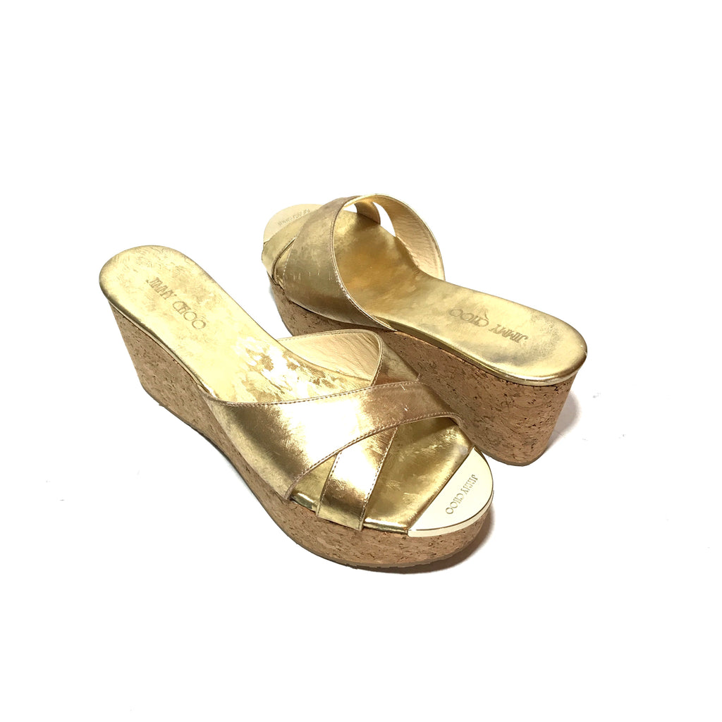Jimmy Choo Gold Leather & Cork Wedges | Gently Used |