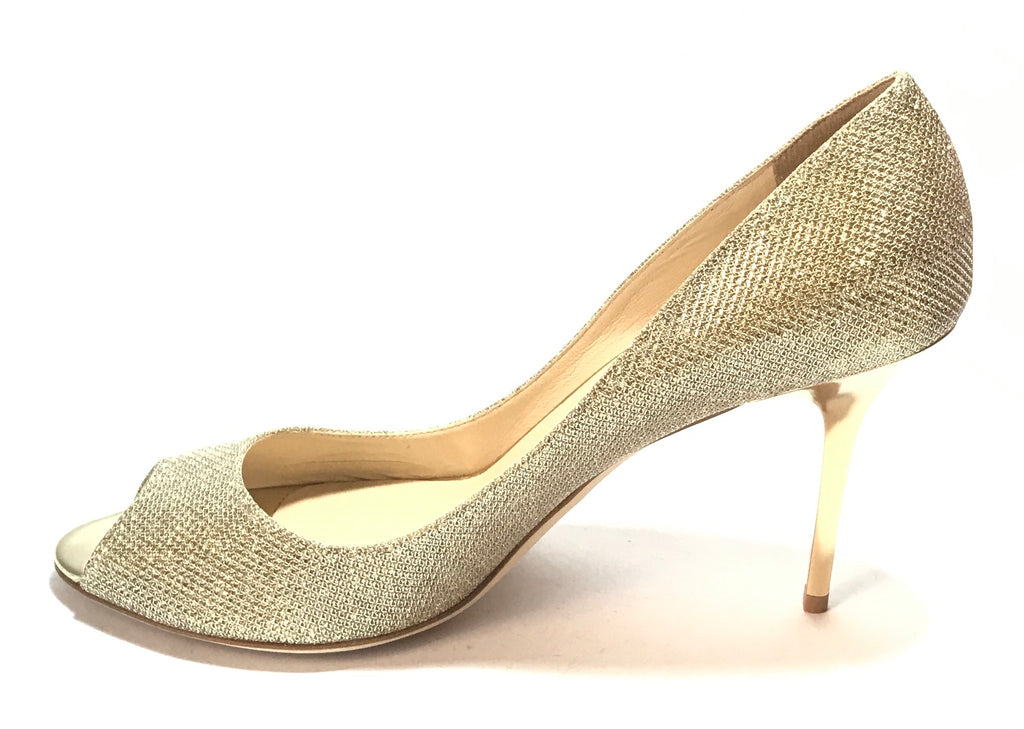 Jimmy Choo Evelyn Gold Lamé Glitter Peep Toe Pumps | Like New |