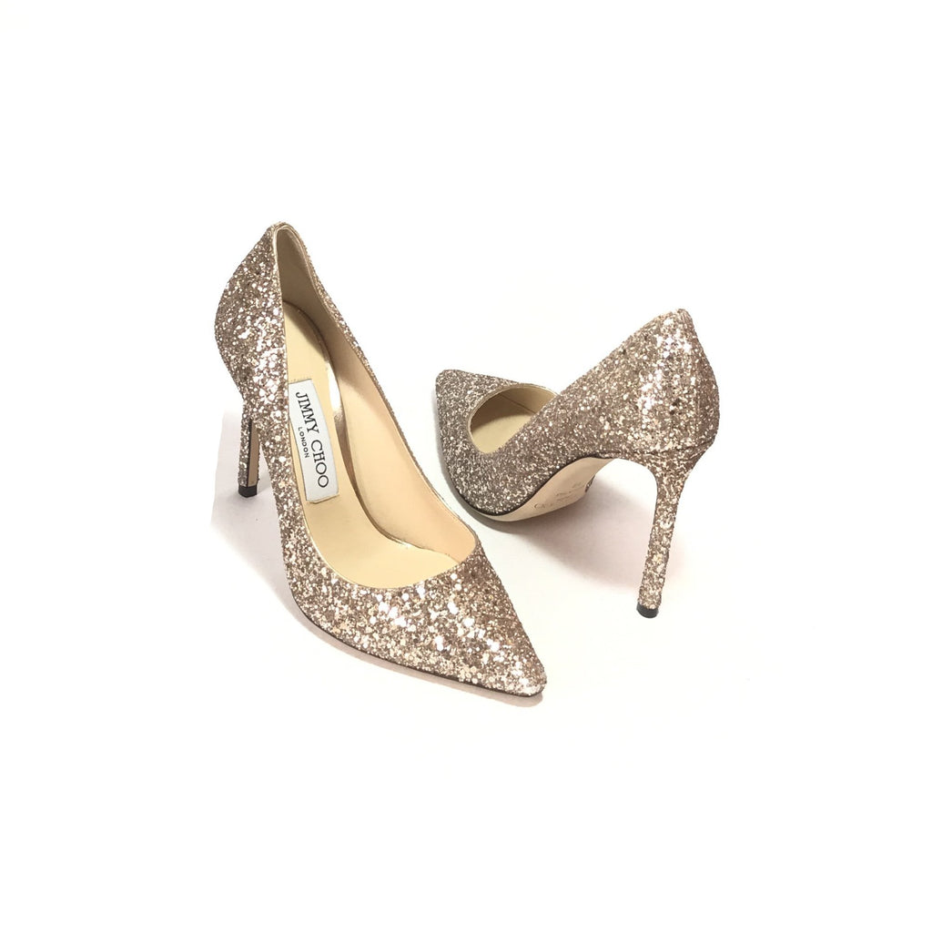 Jimmy Choo ROMY Gold Glitter Pumps | Brand New |