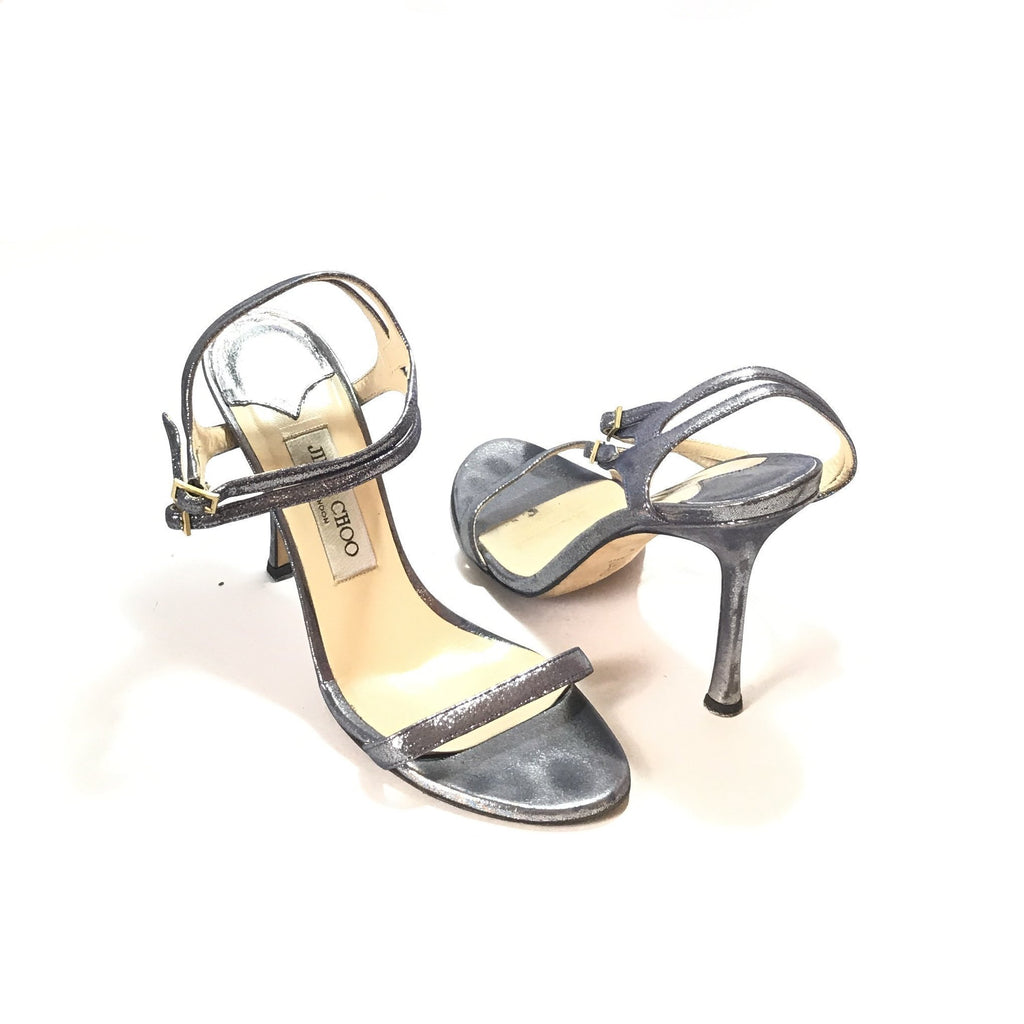 Jimmy Choo 'MIRAGE' Silver Glitter Heels | Pre Loved |