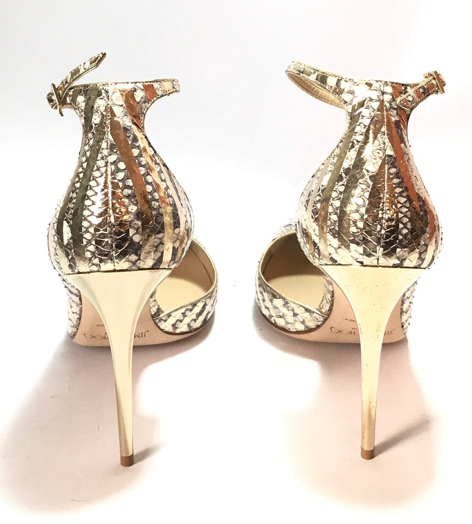 Jimmy Choo LUCY 100 Striped Metallic Gold Python Heels | Like New |