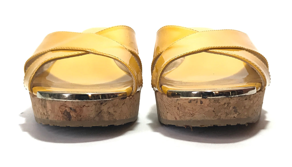 Jimmy Choo Yellow Patent Leather Wedge Sandals | Gently Used |