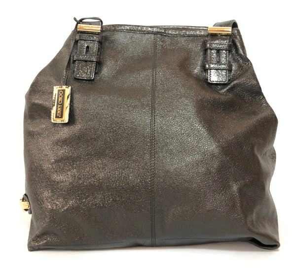 Jimmy Choo Black Textured Leather Large Shoulder Bag | Gently Used |