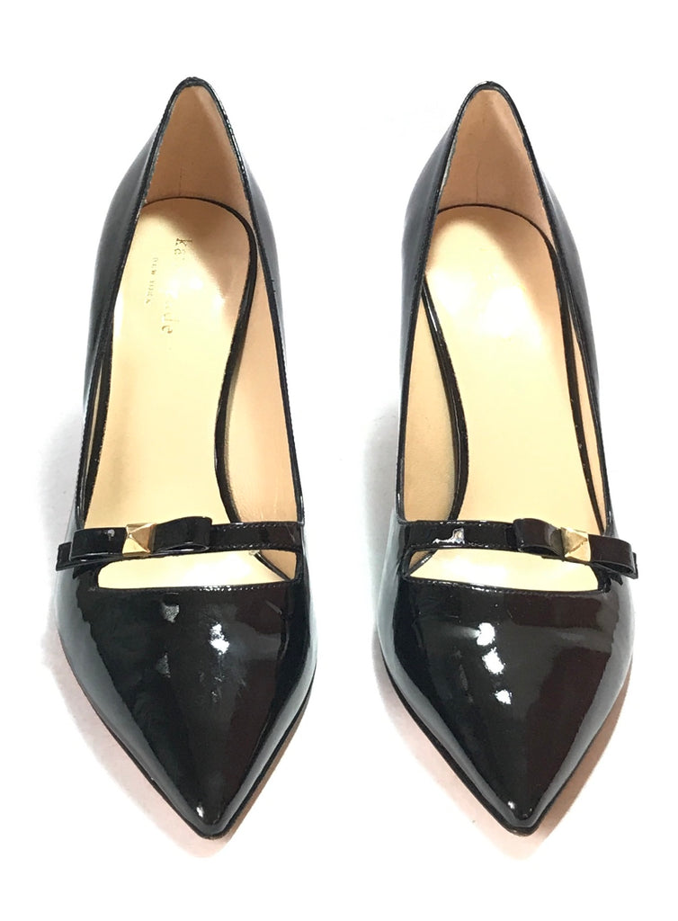 Kate Spade Black Patent Leather Bow Pumps | Like New |