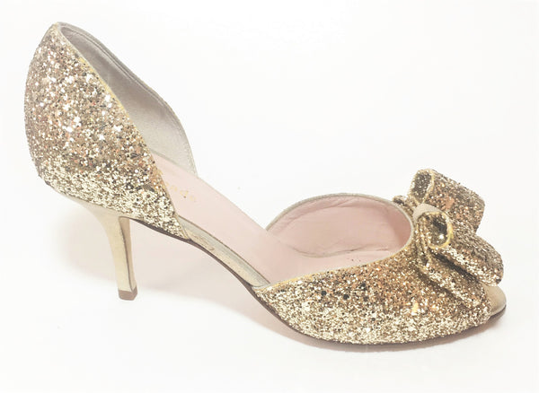 Kate Spade New York 'SELA' Gold Glitter Heels | Gently Used |