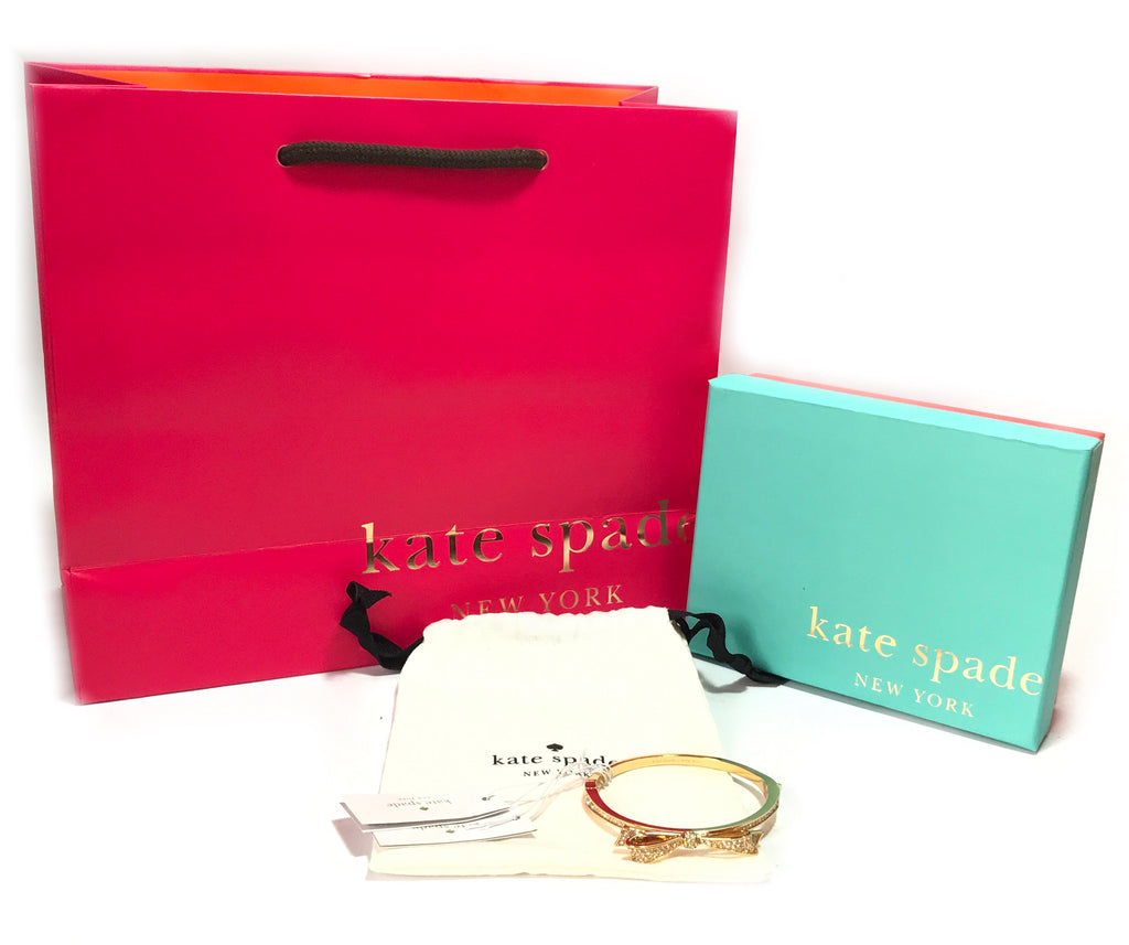 Kate Spade Love Notes Gold Pave Large Bow Bangle  | Brand New |