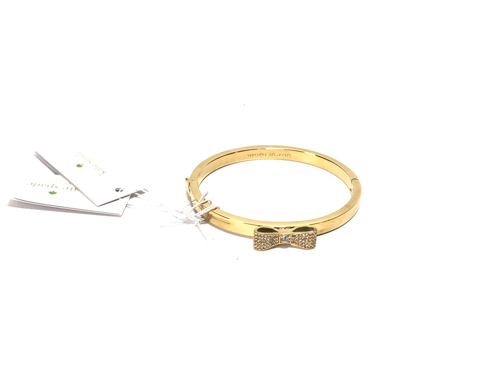 Kate Spade Love Notes Gold Pave Small Bow Bangle  | Brand New |