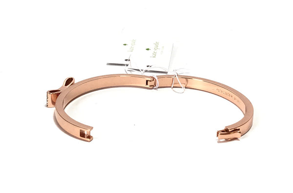 Kate Spade Love Notes Rose Gold Pave Small Bow Bangle  | Brand New |