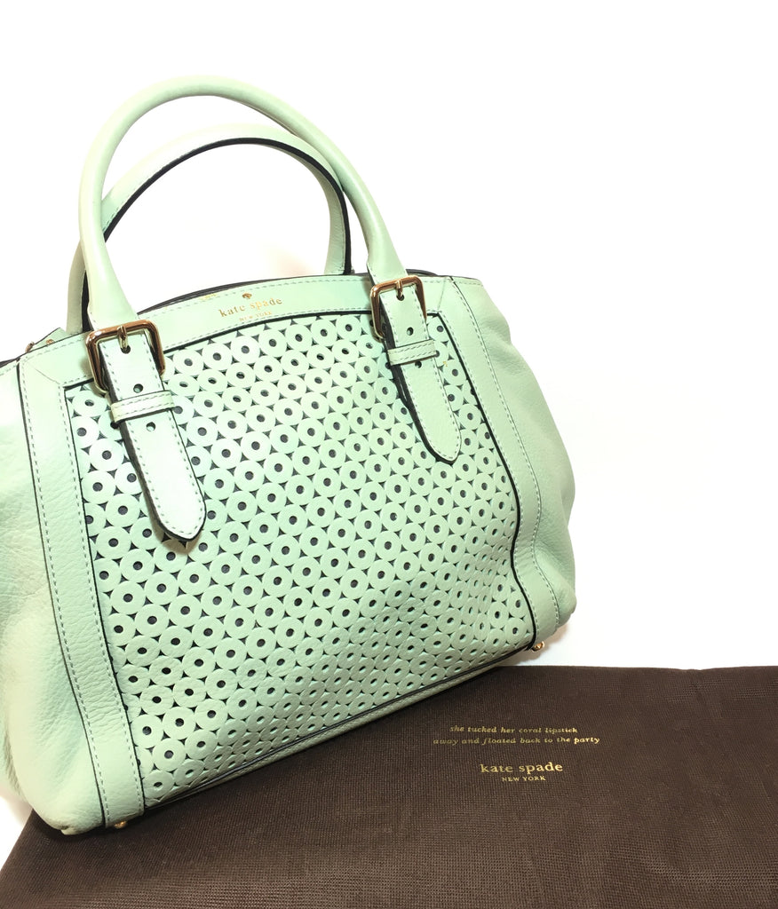 Kate Spade Mint Green Laser Cut Leather Tote Bag | Gently Used |