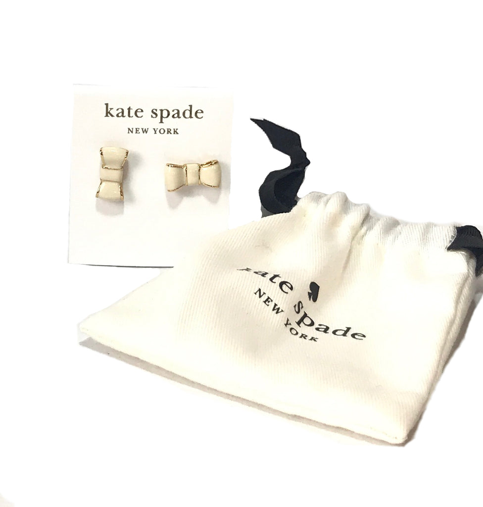 Kate Spade Cream Bow 14K Gold Earrings | Like New |