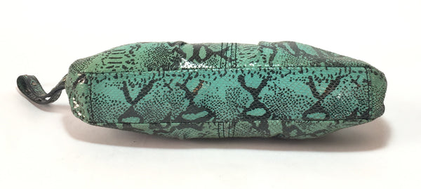 Kenneth Cole Green & Black Snakeskin Print Clutch | Gently Used |