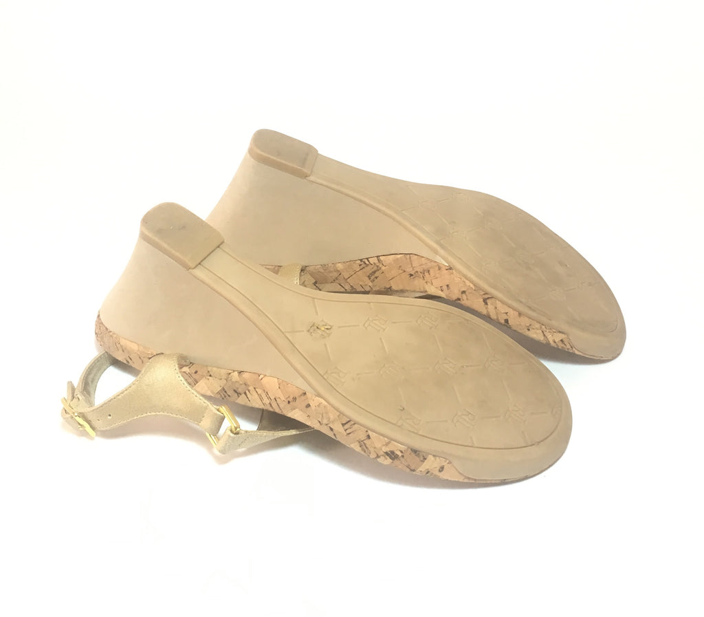 LAUREN Ralph Lauren Gold Thong Wedge Sandals | Like New |