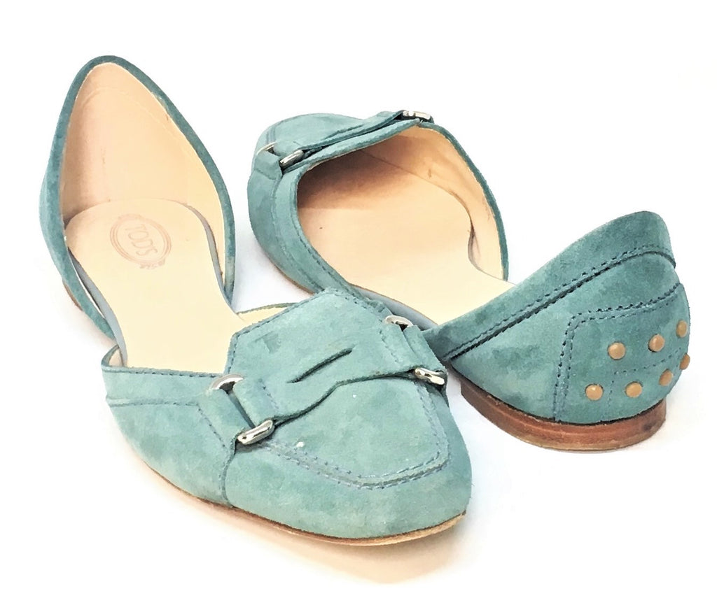 TOD's Teal Suede Square-toed Flats | Pre Loved |