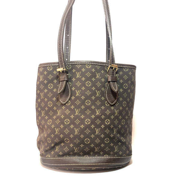 Louis Vuitton Ebene Monogram Mini Lin Bucket PM Bag | Pre Loved |